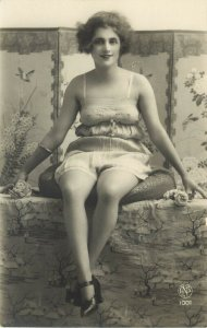 French Risque RPPC Postcard Seated Pretty Girl in Lingerie, NP 1001 unposted