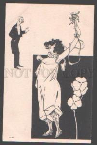 097771 SEMI-NUDE Woman & Dandy ART NOUVEAU vintage RARE PC