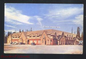 WEST YELLOWSTONE MONTANA STAGE COACH INN HOTEL OLD CARS VINTAGE POSTCARD