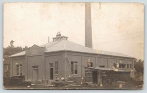 Cassville Wisconsin~City Power Plant under Construction~Men on Roof~1914 RPPC