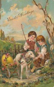 EASTER 1908 ; 2 kids & lamb pulling egg wagon ; PFB