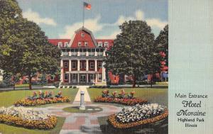Highland Park Illinois Hotel Moraine Main Entrance Linen Antique Postcard K19902