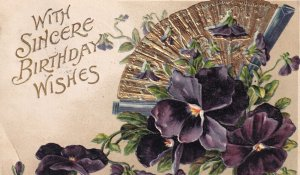 BIRTHDAY, PU-1907; Sincere Wishes, Purple Pansies & Gold Hand Fan