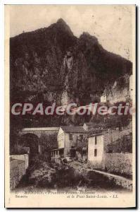 Old Postcard Menton Frontiere Franco Italian and Pont Saint-Louis