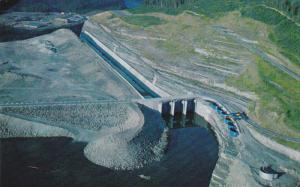 A birds-eye view of the spill way section of the reservoir,  Bennett Dam,  B....