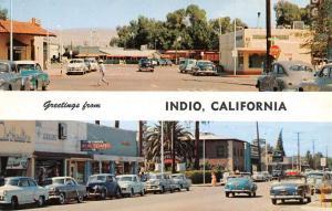 Indio California Street Scene Multiview Vintage Postcard K67795
