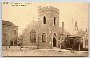 Casper Wyoming~St Mark's Episcopal Church~Lattice Fence~c1910 Sepia Postcard