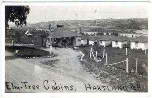 Hartland New Brunswick Canada Gas Station Elm Tree Cabins RPPC Real Postcard