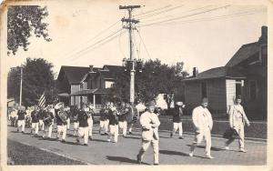 Real Photo Postcard~Shriners' Parade Past Homes~Marching Band~Doctor Bag~c1920s
