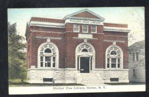 HOMER NEW YORK PHILIPS FREE LIBRARY VINTAGE POSTCARD NY