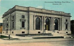 Decatur IL~Government Bldg, Post Office~Roofwalk~Lamps Have 3 Globes~1910