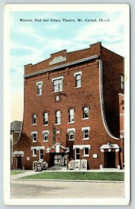 Mt Carmel Illinois~Masonic Hall~Palace Theatre~Posters Line Sidewalk~1920s PC