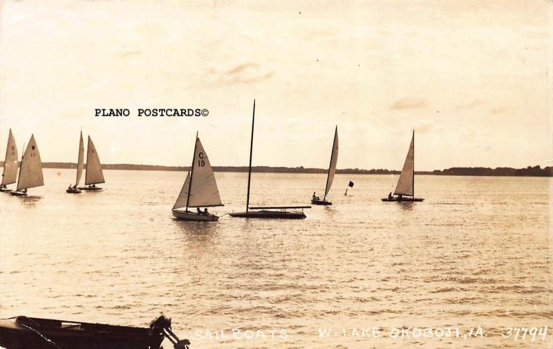 LAKE OKOBOJI, IOWA SAIL BOATS-1939 RPPC REAL PHOTO POSTCARD