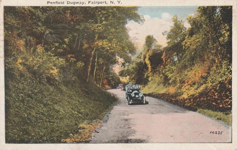 Auto on Penfield Dugway near Fairport NY, New York - pm 1923 - WB
