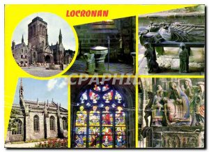 Postcard Modern Colors of Brittany Locronan Church and the Interior