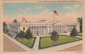North Carolina Charlotte Port Office and Court House 1954 Curteich
