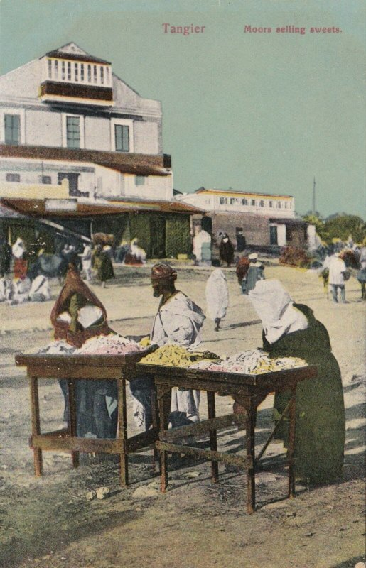 Morocco Tangiers Street Scene With Moors Selling Sweets sk3104