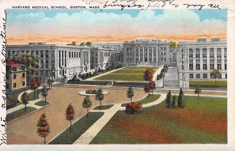 Harvard Medical School, Boston, Massachusetts, early postcard, Used