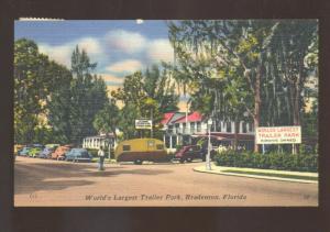 BRADENTON FLORIDA WORLD'S LARGEST TRAILER PARK VINTAGE CAMPER POSTCARD