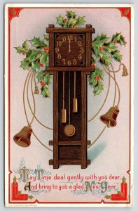 New Year~Grandfather Clock @ Midnight~Time Deal Gentley~Gold Leaf~H Wessler 1910