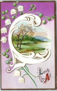 Vintage VALENTINE'S DAY Postcard Country Scene / White Flowers Love to All