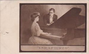 Romantic Couple Woman Playing Piano 1908