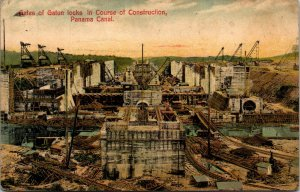VINTAGE GATES GATUN CONSTRUCTION , PANAMA CANAL POSTED POSTCARD