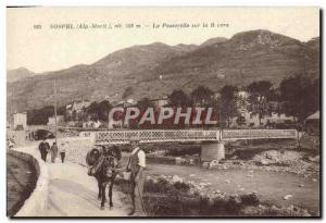 Old Postcard Sospel The Bridge On The Bivera man and his donkey Mule