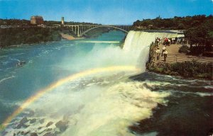 AMERICAN FALLS FROM GOAT ISLAND Niagara Falls NY Rainbow Bridge Vintage Postcard