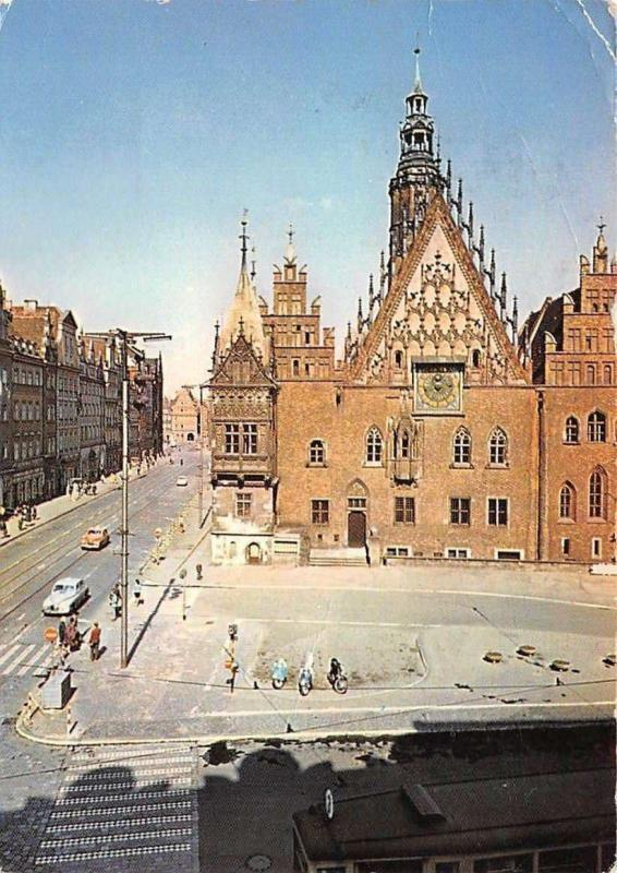 Poland Wroclaw Ratusz, Town Hall Street Vintage Cars Autos Motorcycles
