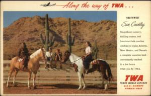 TWA Trans World Airlines Southwest US Women on Horses Linen Adv Postcard