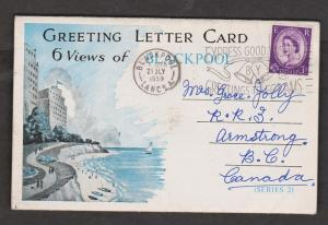 Letter Card With 6 Views Of Blackpool, England - Used 1959