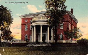 Lynchburg Virginia Elks Home Exterior View Antique Postcard J76316