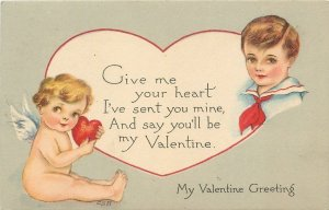 Valentine~Boy Sends Heart With Cupid~Say You'll Be My Valentine~Gibson Art Lines