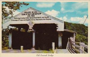 West Virginia Philippi Old Covered Bridge Erected 1852 Scene Of First Land Ba...