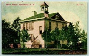 Watertown South Dakota~Public School~Wood Fence~Open Windows~Belfry~1908 ZIM
