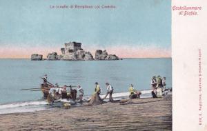 Fishermen at Castellammare Di Stabia Fishing Boats Postcard