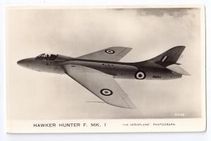 Hawker Hunter F MK 1 Valentines RPPC Fighter Jet Military Aircraft Series