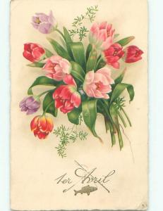 Very Old Foreign Postcard BEAUTIFUL FLOWERS SCENE AA4628