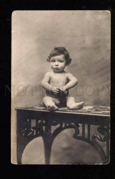 047965 Nude Boy Baby w/ Boot vintage PHOTO