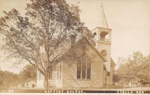 Stella Nebraska~Gracie's Baptist Church~Barns~House~1912 Real Photo Postcard