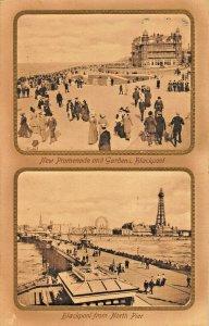 BLACKPOOL LANCASHIRE ENGLAND~DOUBLE VIEW~PIER + PROMENADE-1912  PHOTO POSTCARD