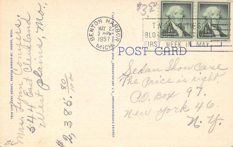 Benton Harbor Michigan~High School~1935 Linen Postcard