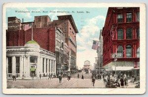 St Louis Missouri~Washington Avenue East @ Broadway~Franklin Bank~1924