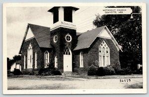 Gravette Arkansas~Methodist Church Close Up~1940s B&W Postcard