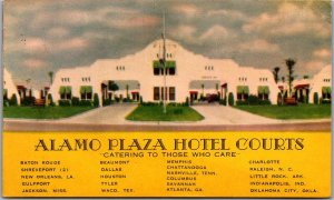 1957 ALAMO PLAZA HOTEL COURTS Advertising Postcard Shreveport Louisiana Cancel