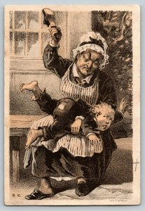 Antique 19th Century 1800s Trade Card Woman Spanking Boy With a Shoe Gies & Co