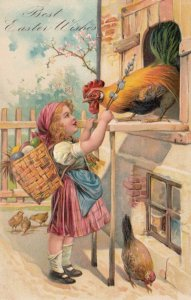 EASTER, 1900-10s; Girl carrying basket of eggs greeting rooster, PFB 6800
