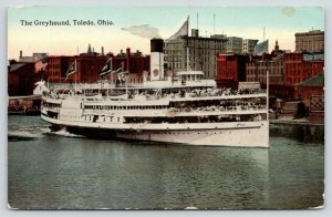 Toledo Ohio~Great Lakes Steamship Greyhound~People on Deck~Flags~c1910