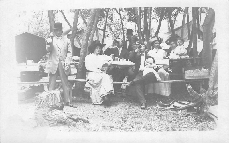 RPPC Tents Camping Scene Picnic Edwardian Photo c1910s Vintage Postcard